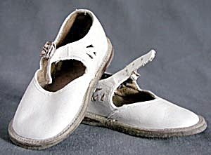 Vintage White Leather Mary Jane Baby Shoes