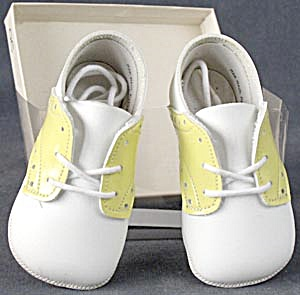 Vintage Yellow Saddle Baby Shoes