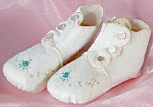 Vintage White Booties With Embroidery
