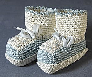Vintage Blue, White and Light Pink Crocheted Baby Shoes (Image1)