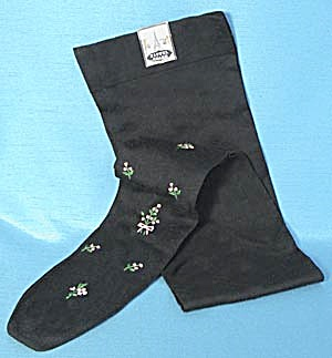 Vintage Stockings Black with Pink Embroidered Flowers (Image1)