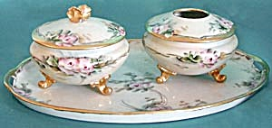 Antique Hand Painted with Pink Roses Dresser Set (Image1)