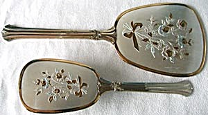 Vintage Mirror And Brush Dresser Set With Roses