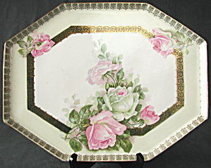 Antique Prussia Dresser Tray With Roses