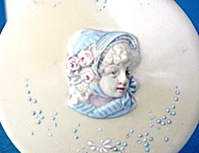 Vintage Celluloid (French Ivory) Young Girl Cameo Box