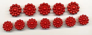 Vintage Red Molded Plastic Buttons Set of 12 (Image1)