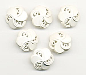 Vintage White Swirly Plastic Buttons