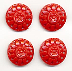 Vintage Red Plastic Flower Buttons Set Of 4