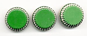Vintage Green Plastic Buttons Metal Shank