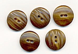 Vintage Brown Wood Look Plastic Buttons Set Of 5