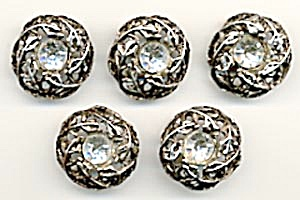Vintage Metal Rhinestone Buttons Set Of 5