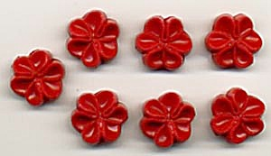 Vintage Red Flower Molded Plastic Buttons Set of 7 (Image1)