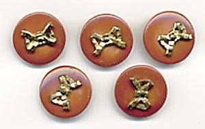 Vintage Carmel Plastic Buttons With Metal Bows
