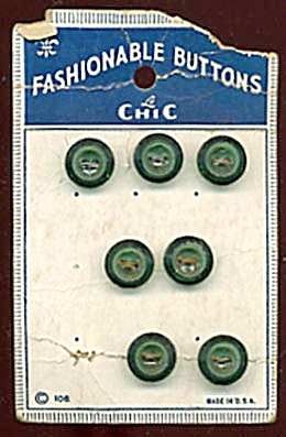 Vintage Green Translucent Plastic Buttons