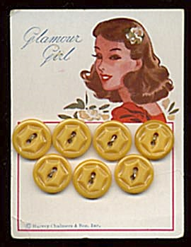 Vintage Butterscotch Plastic Buttons On Orig. Card
