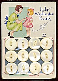 Vintage White Pearl Buttons On Orig. Card