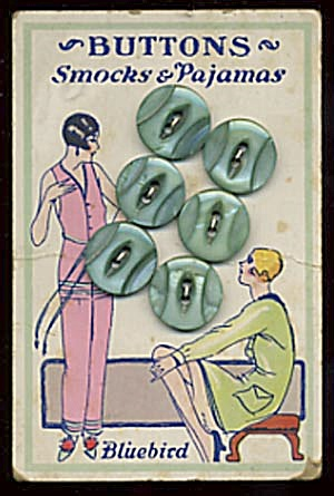 Vintage Bluebird Green Pearl Buttons (Image1)