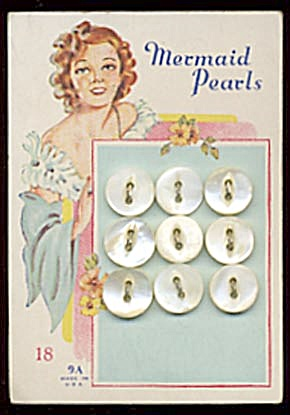 Vintage White Pearl Buttons Set Of 9