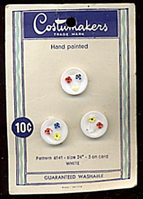 Vintage Western Germany White with Flowers Buttons (Image1)