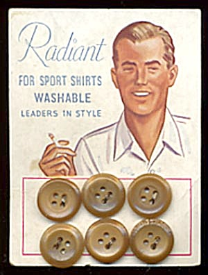 Vintage Brown Plastic Buttons On Orig. Card