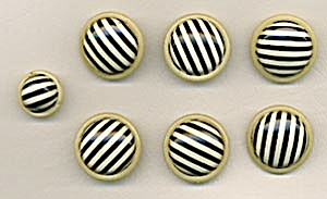 Vintage Celluloid Striped Buttons Set Of 7