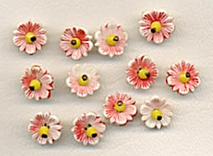 Vintage Plastic Flower Buttons Set of 12 (Image1)