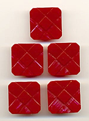 Vintage Square Red Bakelite Buttons Set of 5 (Image1)