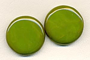 Vintage Green Celluloid  Buttons Set of 2 (Image1)