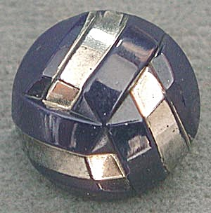 Vintage Deco Navy & Silver Glass Button