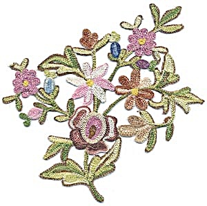 Vintage Multicolored & Metallic Floral Applique (Image1)