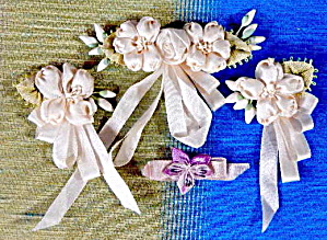 Vintage Floral Ribbon Work Set Of 4