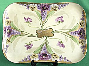 Vintage Hand Painted Limoges Pansy Tray