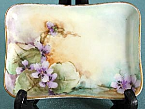 A K D France Hand-painted Violets Pin Tray