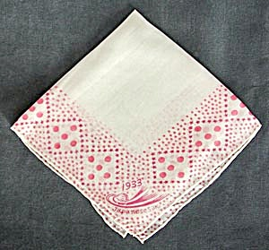 Chicago World Fair Century Of Progress Pink Silk Hanky