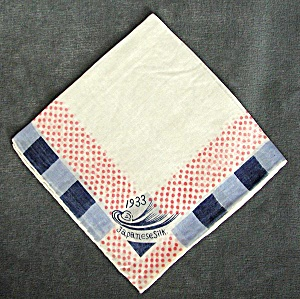 Chicago World Fair Century Of Progress Blue Silk Hanky