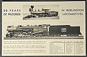 Chicago World's Fair Postcard Of Burlington Locomotives