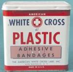 Click here to enlarge image and see more about item ADTIN108: Vintage White Cross Plastic Adhesive Bandages Metal Tin