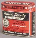 Click here to enlarge image and see more about item ADTIN117: Vintage Natures Remedy All Vegetable Laxative Tin