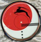 Click here to enlarge image and see more about item ADTIN11: Art Deco Tin Leaping Antelope