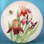 Click here to enlarge image and see more about item ADTIN135: Vintage Iris and Bumble Bee Large Tin
