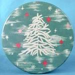 Click here to enlarge image and see more about item ADTIN140: Vintage White Feather Christmas Tree Tin