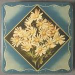Click here to enlarge image and see more about item ADTIN20: Vintage Mrs. Steven's Candies Tin with Daisies