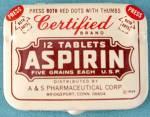 Vintage Certified Aspirin Tin