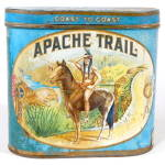 Click here to enlarge image and see more about item ADTIN249: Vintage Apache Trail Cigar Tin Rare