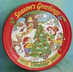 Click here to enlarge image and see more about item ADTIN46: Vintage Christmas Keebler Season's Greeting Tin 1993