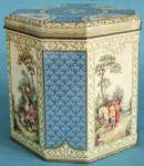 Click here to enlarge image and see more about item ADTIN74: Vintage Octagon Hinged Tin