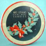 Click here to enlarge image and see more about item ADTIN87: Vintage Mrs. Steven's Holly Candies Tin
