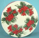 Click here to enlarge image and see more about item ADTIN92: Vintage Holly with Berries Tin