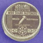 Click here to enlarge image and see more about item ADVGEN48: Vintage Oakville Wire Shank Fasteners Box