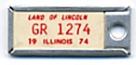 Click here to enlarge image and see more about item ADVKEY88: Key Chain: Vintage Miniature License Plate 1974